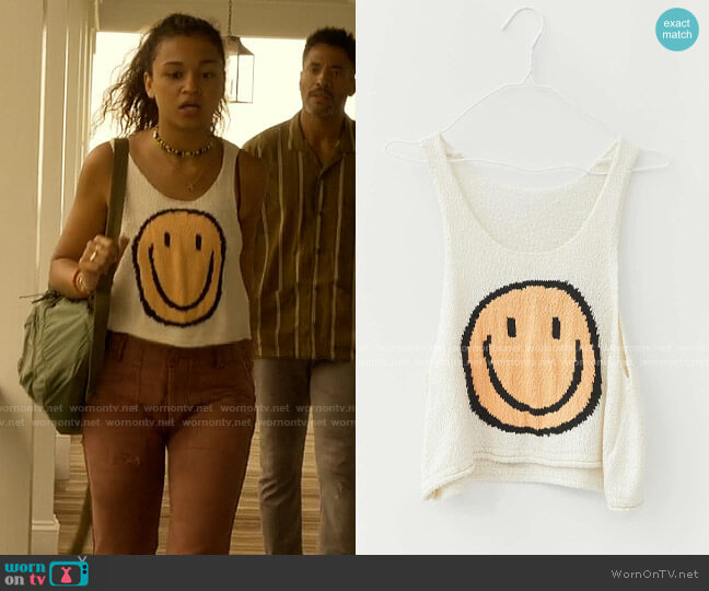 Uo Happy Daze Knit Tank Top worn by Kiara Carrera (Madison Bailey) on Outer Banks