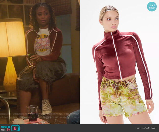 Jerri Velour Zip-Up Cropped Jacket by Urban Outfitters  worn by Malika Williams (Zuri Adele) on Good Trouble