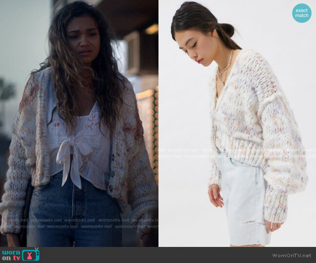 Kimchi Blue Bunny Cropped Cardigan worn by Kelley (Madison Bailey) on American Horror Stories