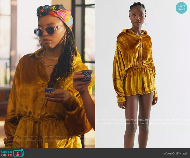 Gold Velvet Romper by Urban Outfitters worn by Jazlyn Forster (Chloe Bailey) on Grown-ish