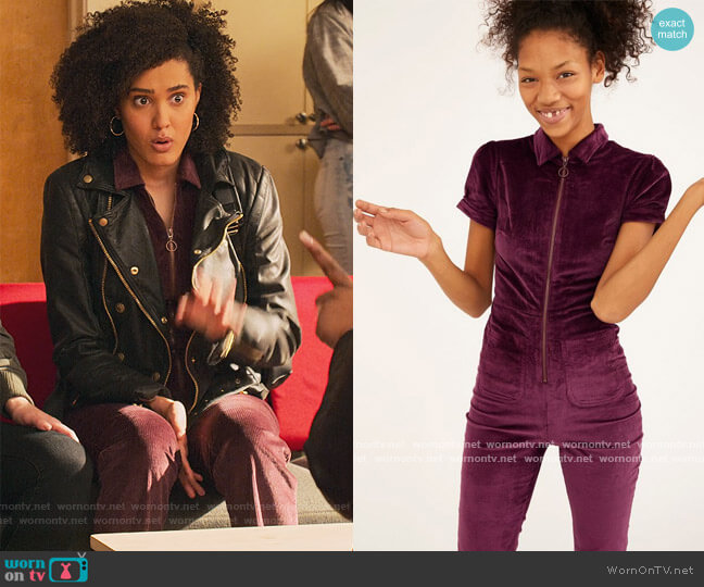 Clark Corduroy Zip-Front Coverall by Urban Outfitters worn by Fabiola Torres (Lee Rodriguez) on Never Have I Ever