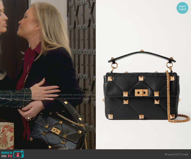 Garavani Roman Stud Quilted Leather Shoulder Bag by Valentino worn by Kathy Hilton  on The Real Housewives of Beverly Hills