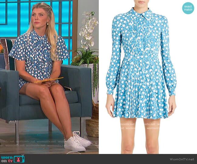 Star Print Long Sleeve Silk Dress by Valentino worn by Amanda Kloots  on The Talk