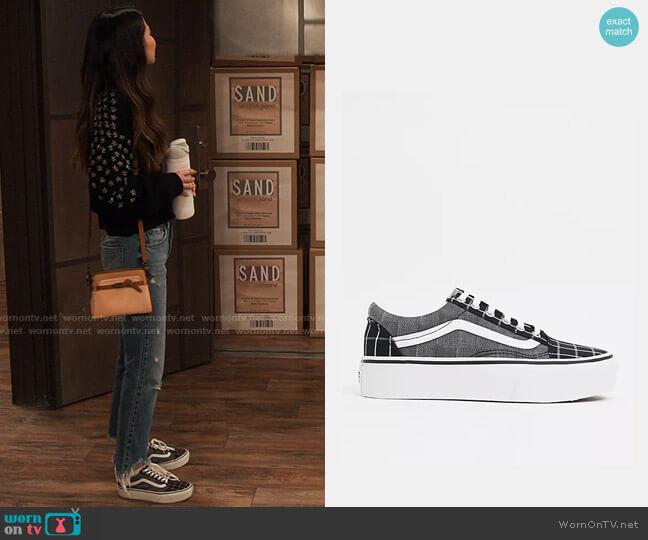 Vans Old Skool Platform Woven Check sneakers in multi worn by Carly Shay (Miranda Cosgrove) on iCarly