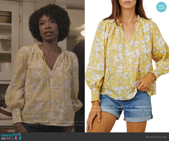 Anissa Floral Print Peasant Top by Velvet by Graham & Spencer worn by Grace James (Karimah Westbrook) on All American