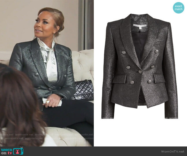 Diego Double-Breasted Lurex Dickey Blazer by Veronica Beard worn by Gizelle Bryant  on The Real Housewives of Potomac