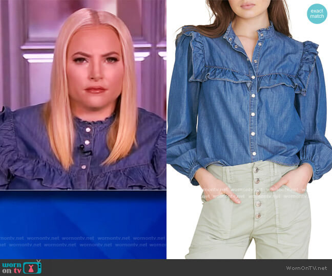 Tes Button-Down Chambray Top by Veronica Beard worn by Meghan McCain  on The View