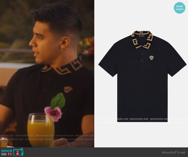 Creca Collar Polo Shirt by Versace worn by Vivek Shah (Jordan Buhat) on Grown-ish