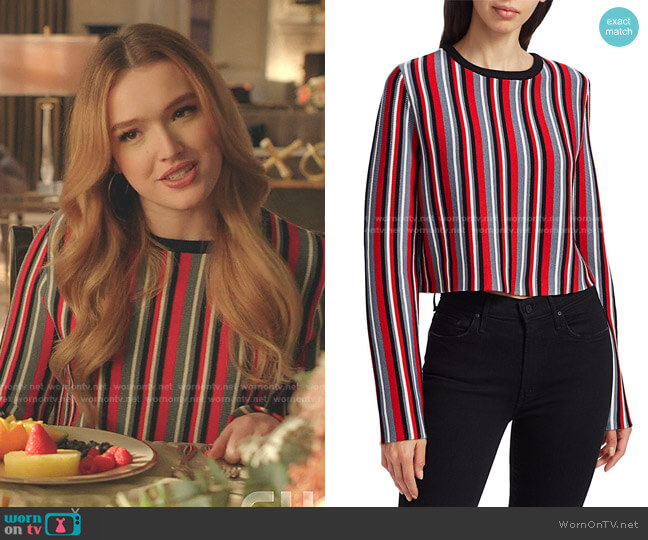 Multi-Stripe Wool Cropped Sweater by Victor Glemaud worn by Kirby Anders (Maddison Brown) on Dynasty