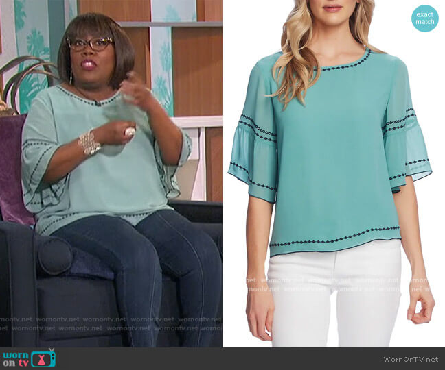 Embroidered Bell Sleeve Chiffon Blouse by Vince Camuto worn by Sheryl Underwood  on The Talk