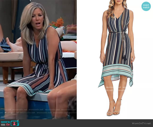 Striped Belted Dress by Vince Camuto worn by Carly Corinthos (Laura Wright) on General Hospital