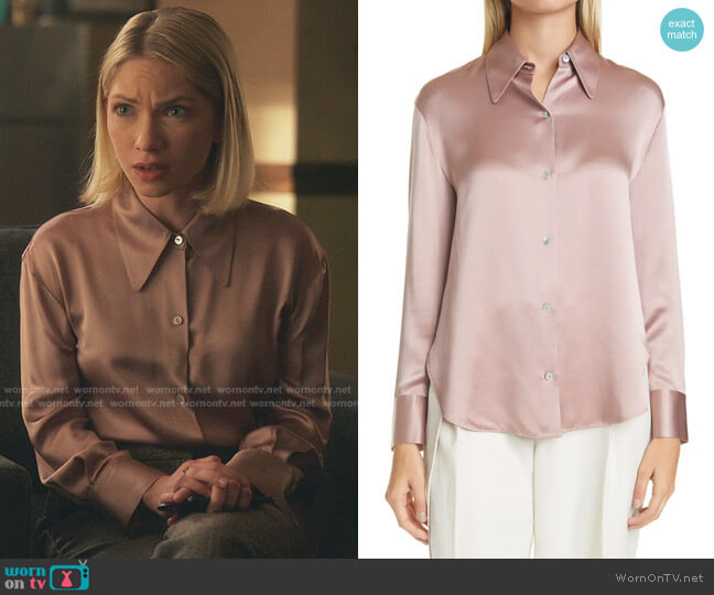 Shaped Collar Silk Blouse by Vince worn by Kate Keller (Tavi Gevinson) on Gossip Girl