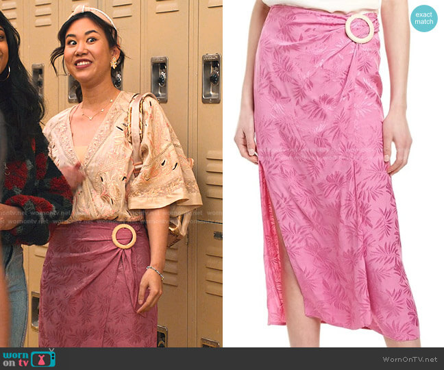 Juno Wrap Midi Skirt by WAYF worn by Eleanor Wong (Ramona Young) on Never Have I Ever