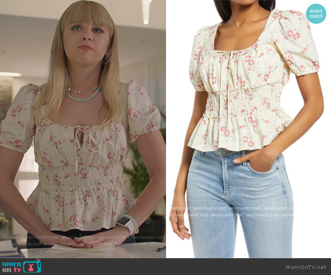 Lucian Floral Smocked Waist Top by WAYF worn by Anna Lore on All American
