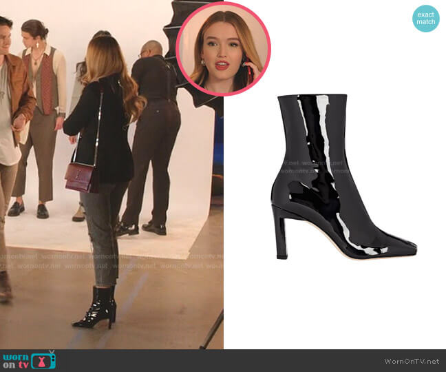 Isa Patent Leather Ankle Boots by Wandler worn by Kirby Anders (Maddison Brown) on Dynasty