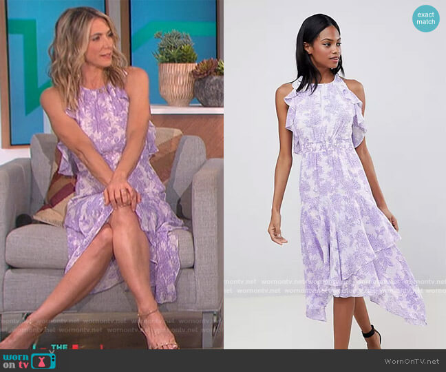 Ruffle Floral Midi Dress by Whistles worn by Debbie Matenopoulos on The Talk