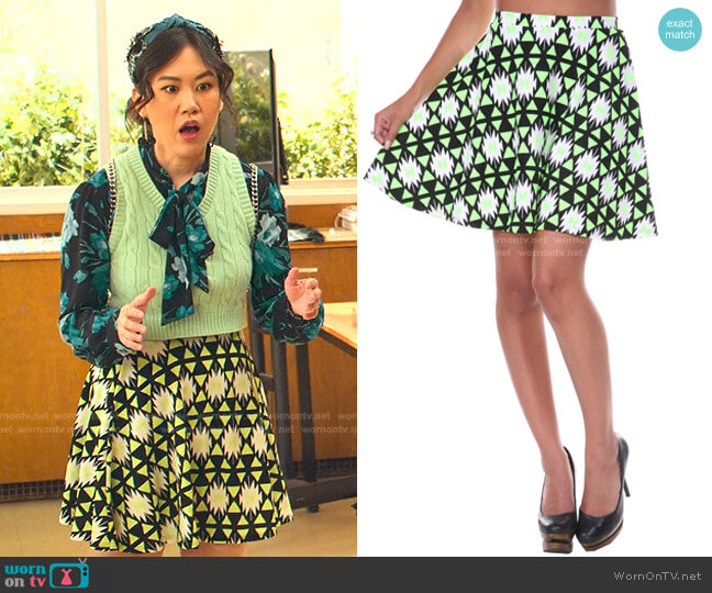 Triangle Printed Fit and Flare Skirt by White Mark worn by Eleanor Wong (Ramona Young) on Never Have I Ever