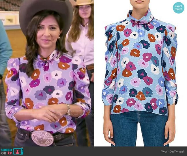 Winter Garden Blouse by Kate Spade worn by Zohreen Shah on GMA