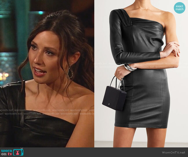 One-Sleeve Leather Mini Dress by Zeynep Arcay worn by Katie Thurston  on The Bachelorette