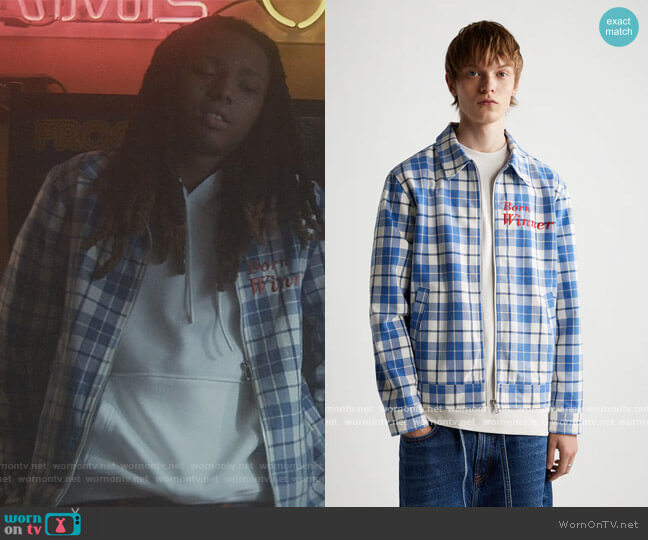 Emroidered Plaid Jacket by Zara worn by Michael Epps on The Chi