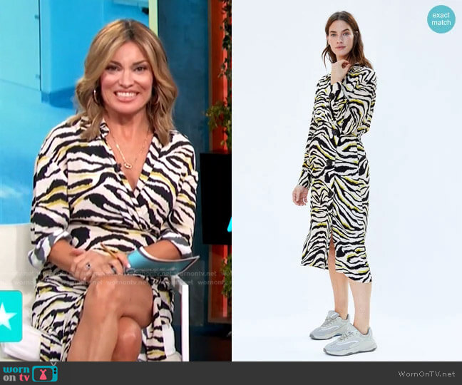 Zebra Printed Dress by Zara worn by Kit Hoover  on Access Hollywood