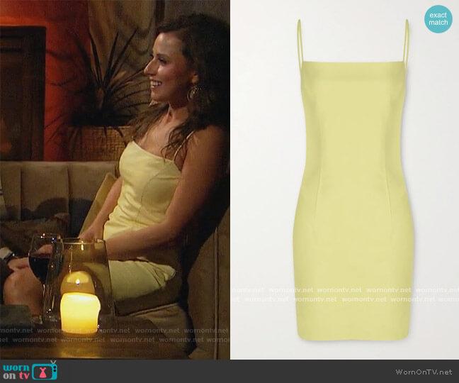 Leather mini dress by Zeynep Arcay worn by Katie Thurston  on The Bachelorette