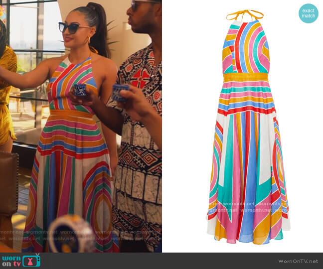 Fiesta striped linen-voile halterneck midi dress by Zimmermann worn by Ana Torres (Francia Raisa) on Grown-ish