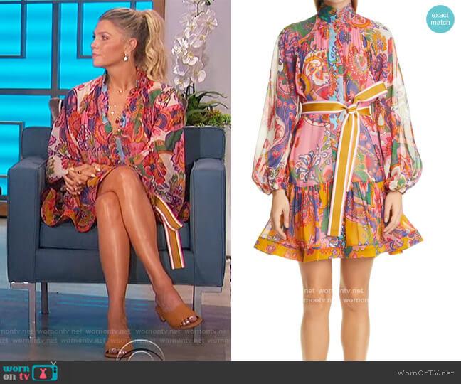 The Lovestruck Paisley Long Sleeve Drop Waist Minidress by Zimmermann worn by Amanda Kloots  on The Talk