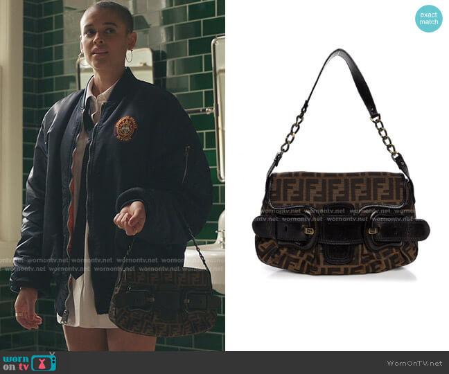 Zucca B Bis Flap Bag by Fendi worn by Julien Calloway (Jordan Alexander) on Gossip Girl