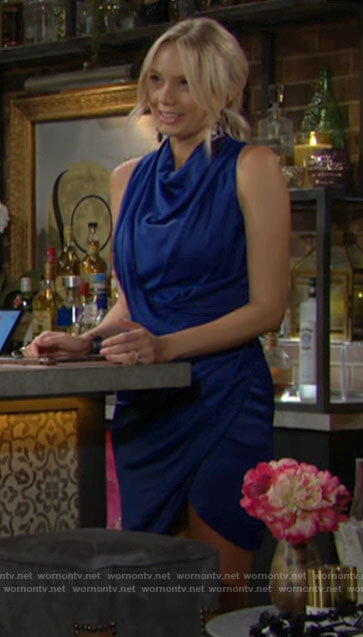 Abby's blue cowl neck dress on The Young and the Restless