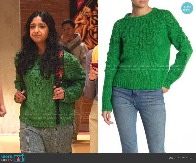 Textured Crew Neck Knit Sweater by Abound worn by Devi Vishwakumar (Maitreyi Ramakrishnan) on Never Have I Ever