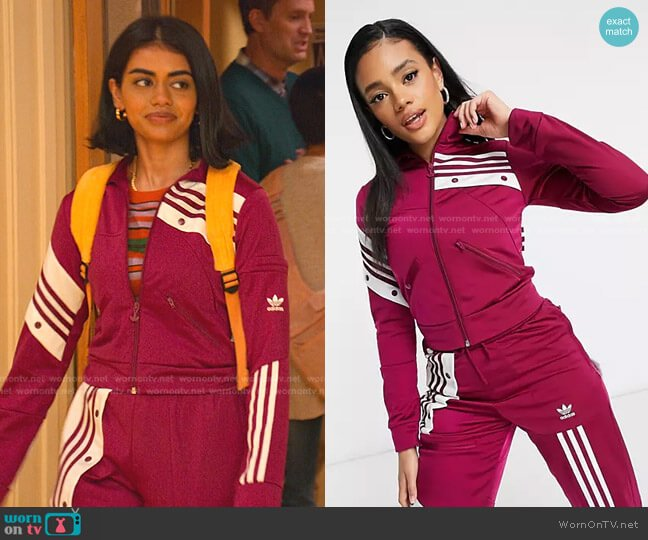 Danielle Cathari Track Jacket by Adidas worn by Aneesa (Megan Suri) on Never Have I Ever
