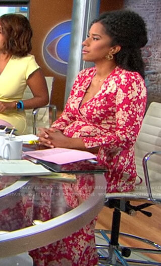 Adriana Diaz's red floral maxi dress on CBS This Morning