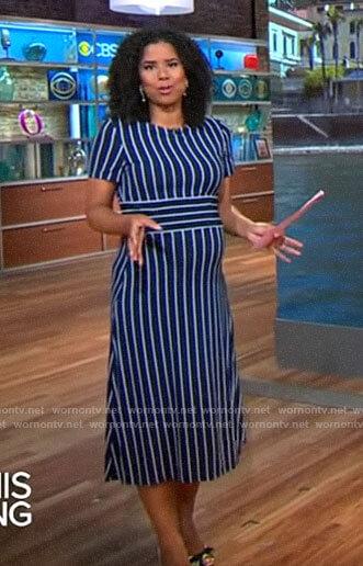 Adriana Diaz's navy striped dress on CBS This Morning