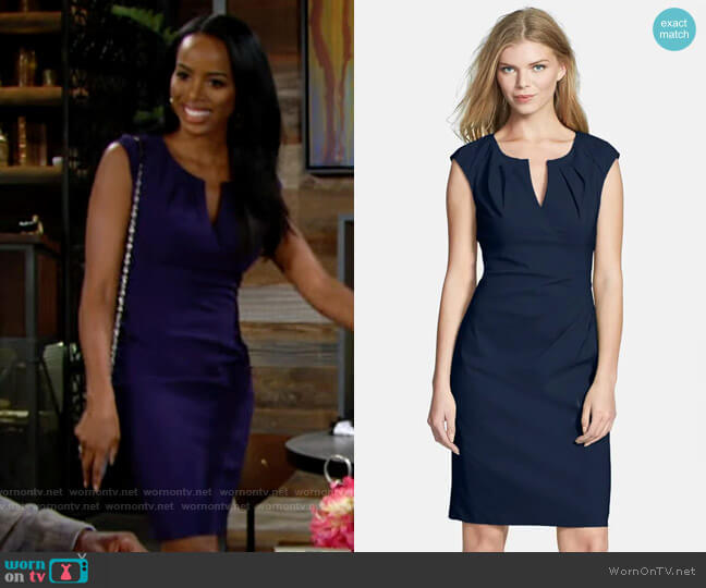 Adrianna Papell Side Pleat Sheath Dress worn by Imani Benedict (Leigh-Ann Rose) on The Young & the Restless