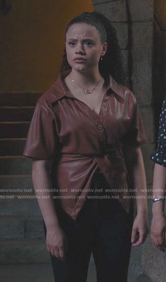 Maggie's twist front leather top on Charmed