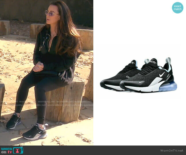 Air Max 270 Premium Sneaker In Black/ Aluminum by Nike worn by Kyle Richards  on The Real Housewives of Beverly Hills