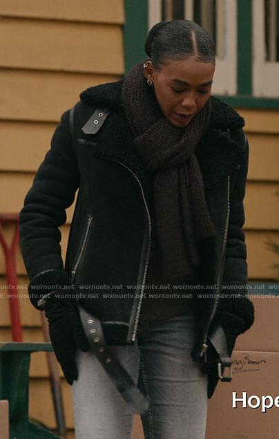 AJ's black shearling jacket on The Republic of Sarah