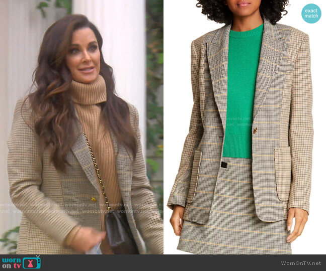 Martel Mixed Plaid Jacket by A.L.C. worn by Kyle Richards  on The Real Housewives of Beverly Hills