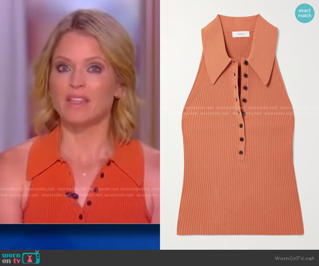 Asher Top in Orange by A.L.C. worn by Sara Haines  on The View