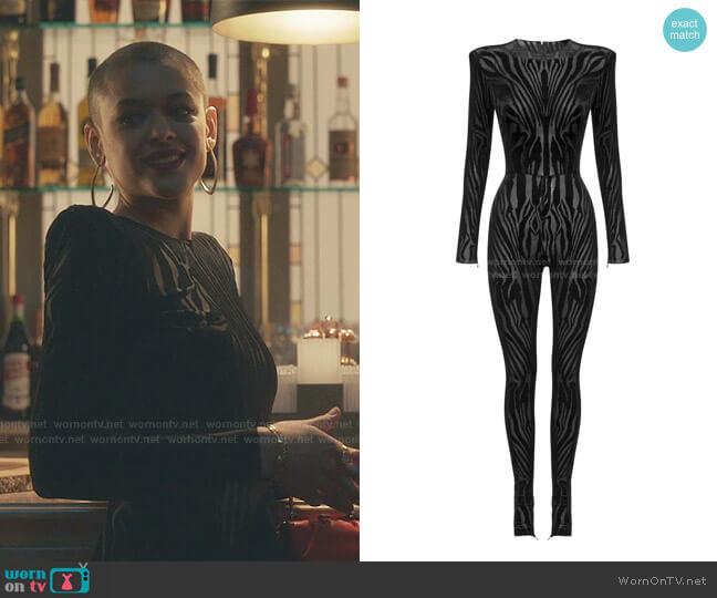 Leighton Zebra-Print Jersey Jumpsuit by Alex Perry worn by Julien Calloway (Jordan Alexander) on Gossip Girl