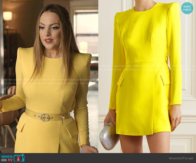 Rae Draped Mini Dress by Alex Perry worn by Fallon Carrington (Elizabeth Gillies) on Dynasty
