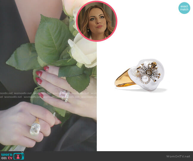Crystal And Pearl Ring In White by Alexander McQueen worn by Fallon Carrington (Elizabeth Gillies) on Dynasty