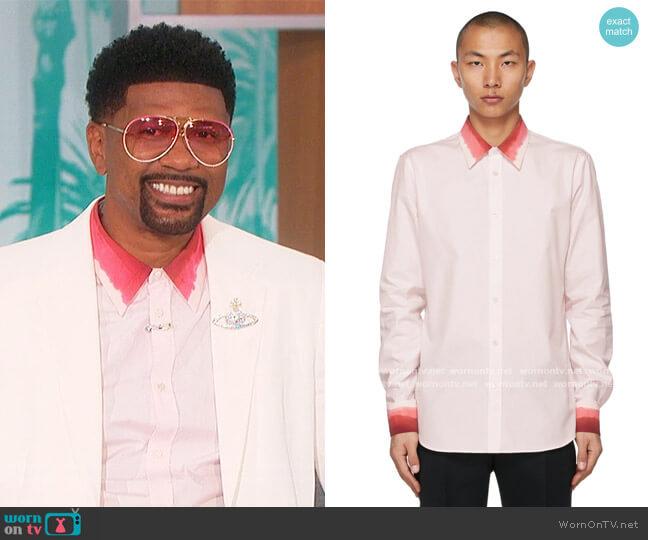 Pink Dip Dye Trim Shirt by Alexander McQueen worn by Jalen Rose on The Talk