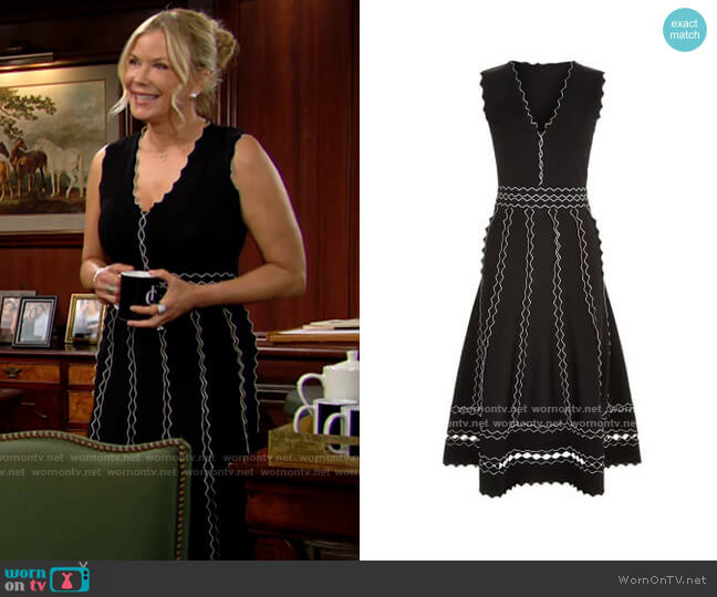 Alexander McQueen Scalloped Panelled Dress worn by Brooke Logan (Katherine Kelly Lang) on The Bold & the Beautiful