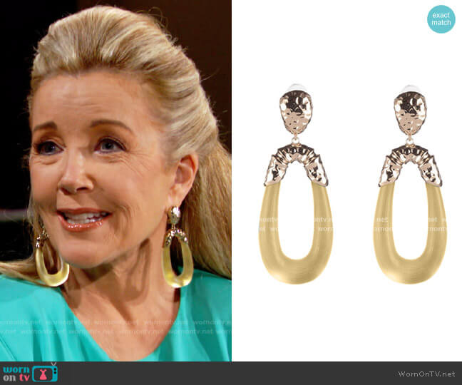 Alexis Bittar Hammered Metal & Satin Lucite Drop Earrings worn by Nikki Reed Newman (Melody Thomas-Scott) on The Young & the Restless