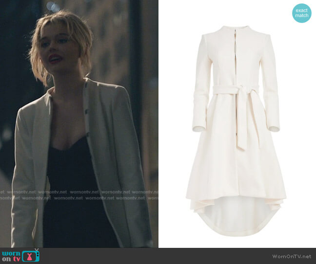 Bain Belted High Neck Coat by Alice + Olivia worn by Audrey Hope (Emily Alyn Lind) on Gossip Girl