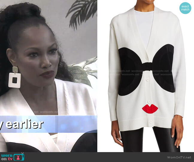 Bradford Stace Face Grandpa Cardigan by Alice + Olivia worn by Garcelle Beauvais  on The Real Housewives of Beverly Hills