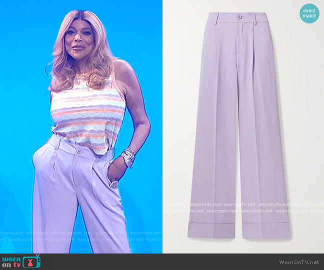Tomasa wide-leg trousers by Alice + Olivia worn by Wendy Williams  on The Wendy Williams Show