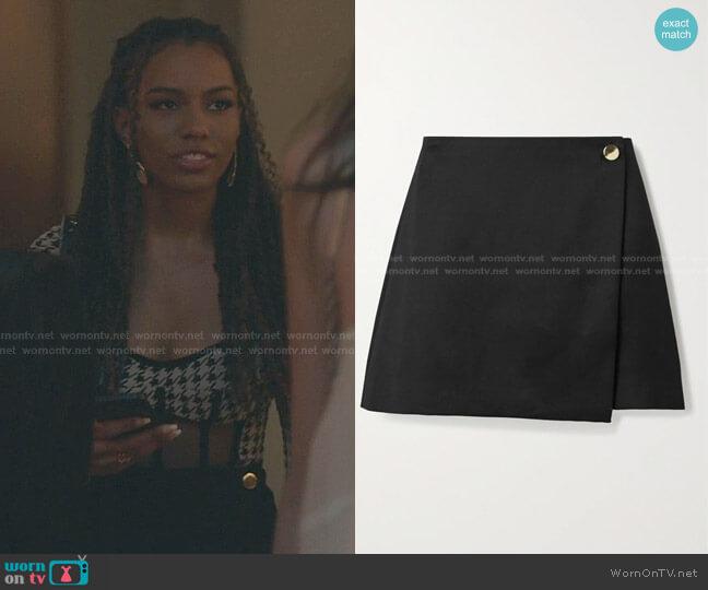 Renna Button-Wrap Miniskirt by Alice + Olivia worn by Monet de Haan (Savannah Lee Smith) on Gossip Girl